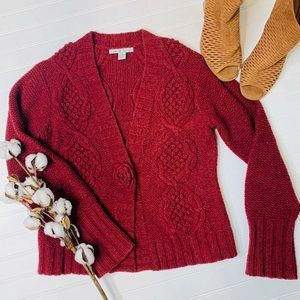 CAbi 347 Burgundy Cable Knit Cardigan Sweater